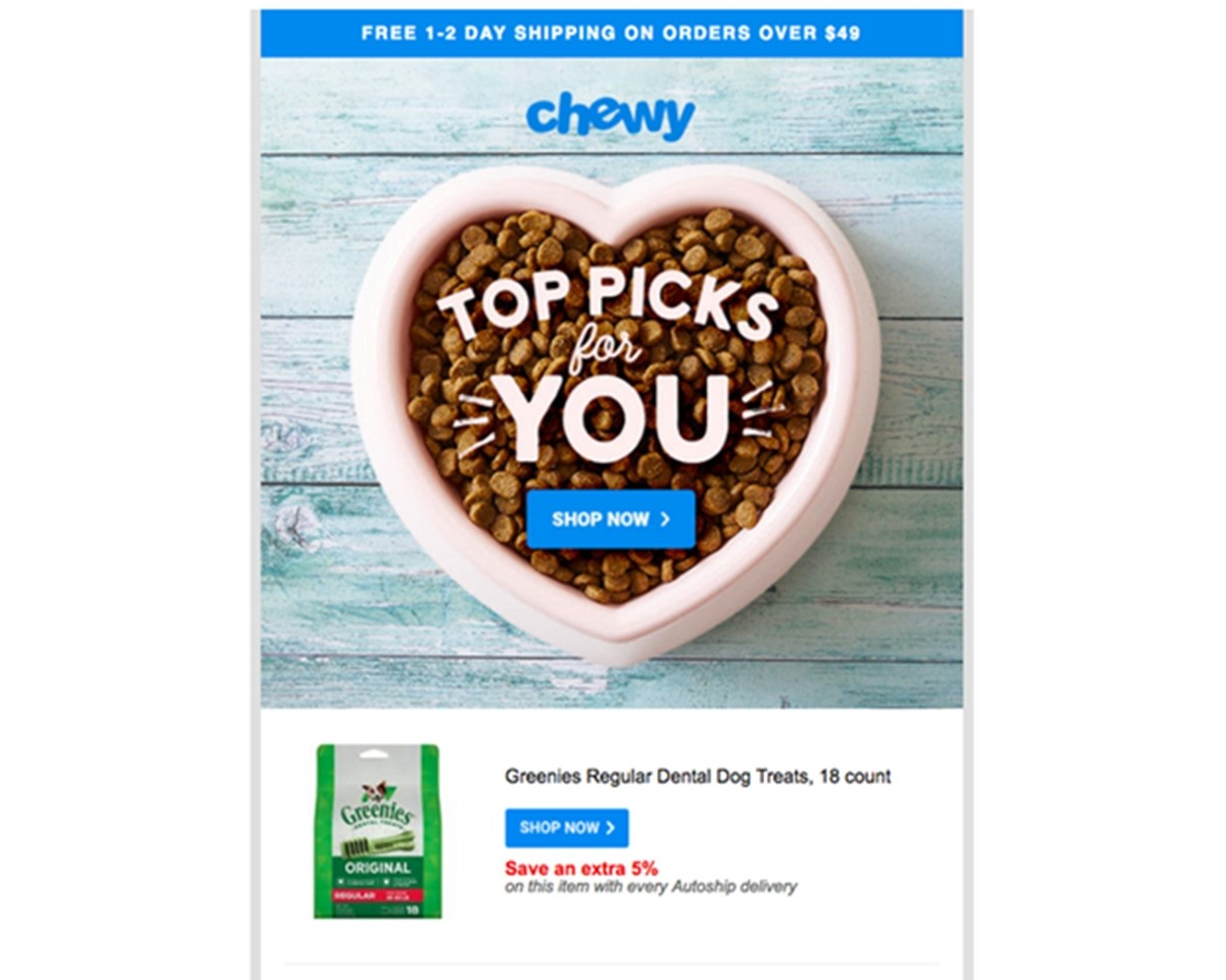 Chewy marketing email