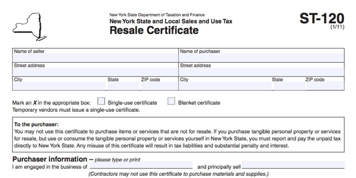 New York Resale Certificate example