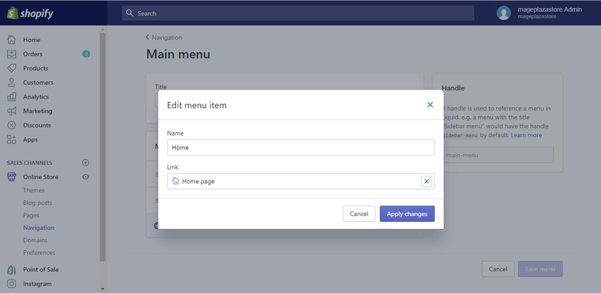 how edit menu item shopify