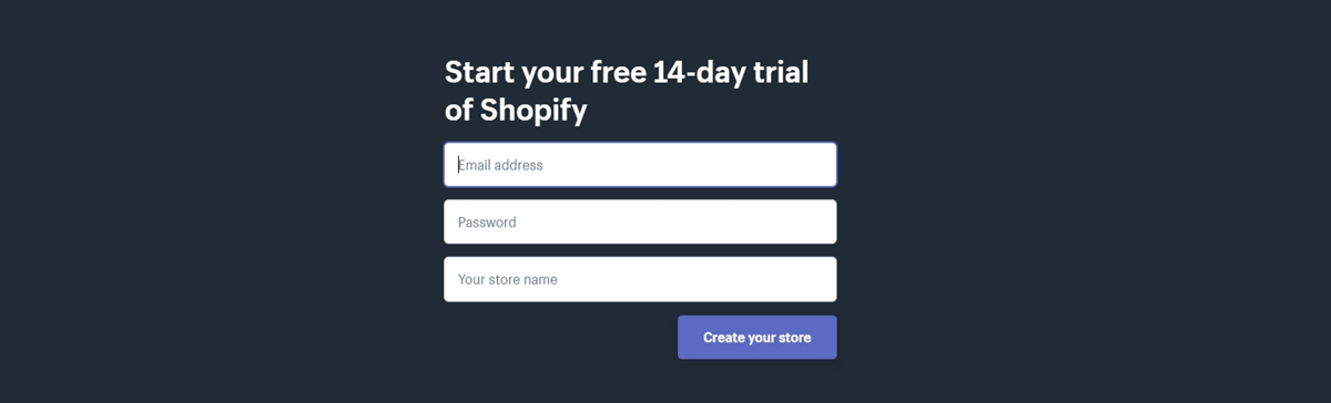 how to get Shopify 14 day Trial