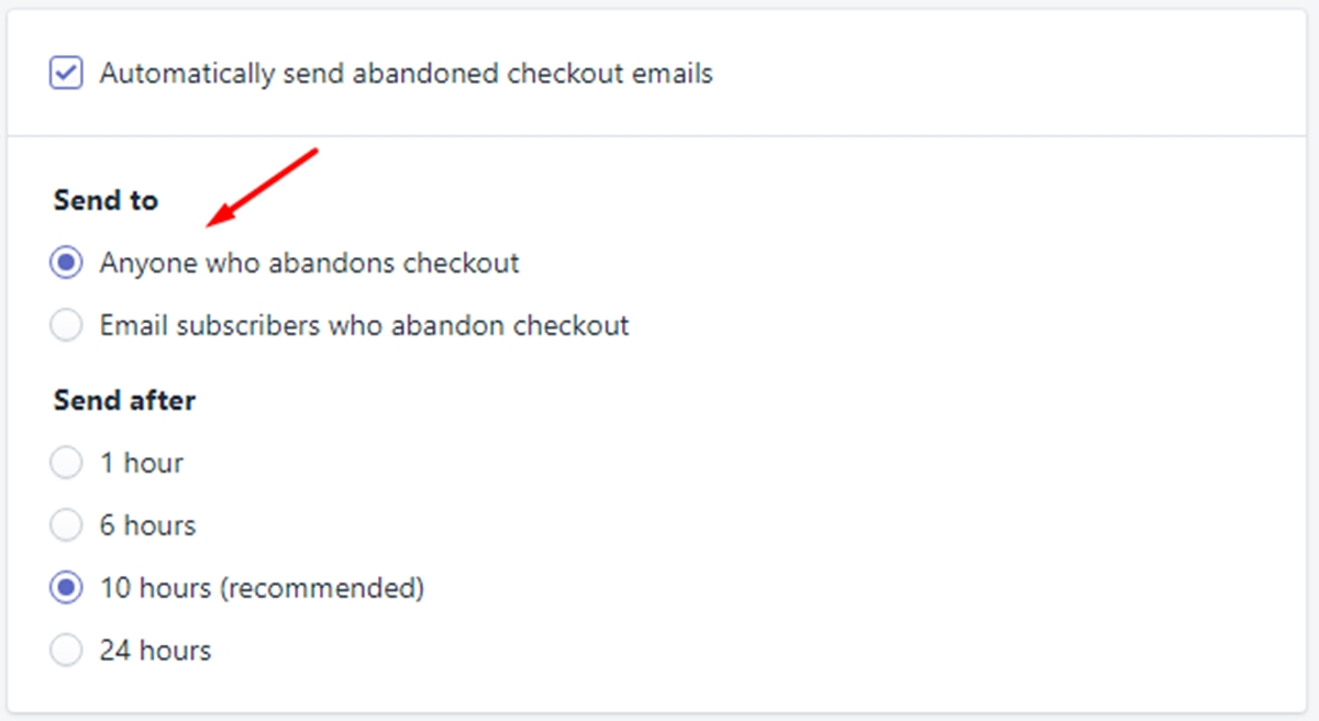 how enable automatic abandoned checkout recovery emails shopify