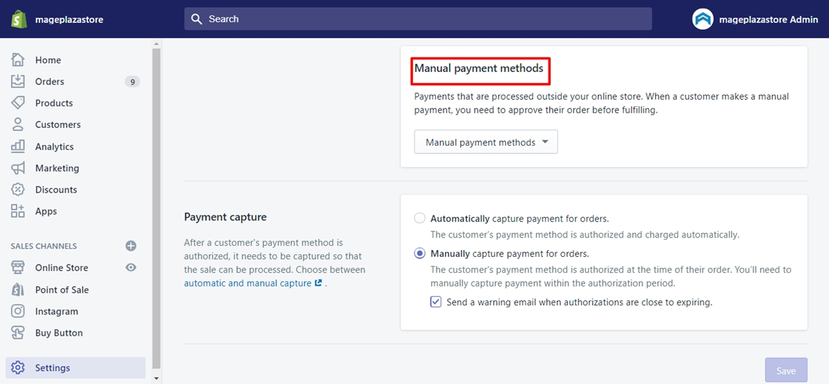 manual payment methods