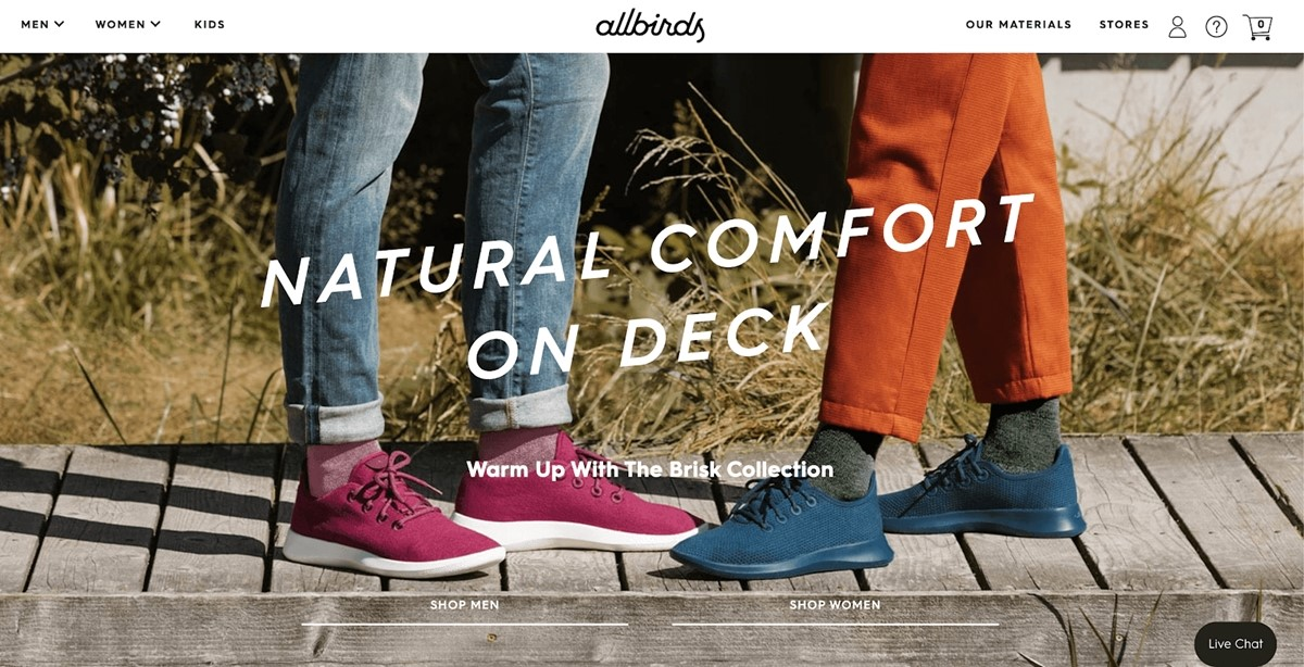 Shopify Store Examples: All birds - Shoes and socks store