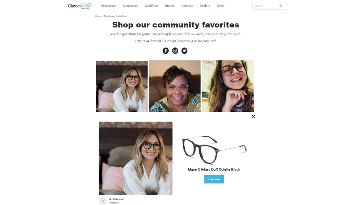 The Social Shop by GlassesUSA utilizes user generated content