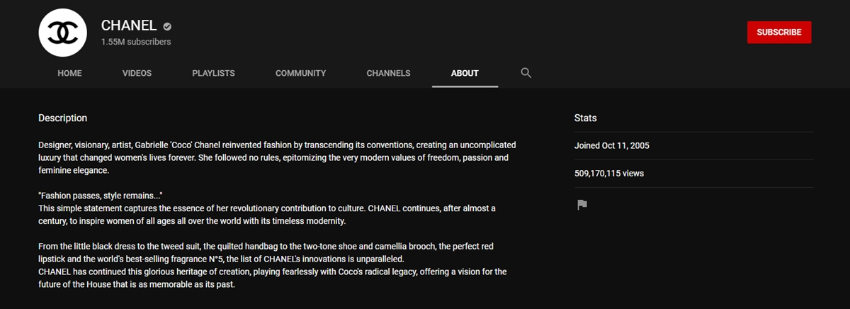 CHANEL's channel info