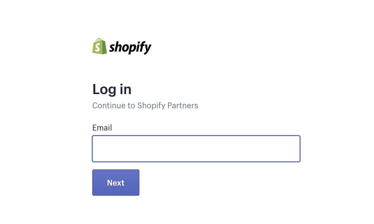 Shopify Partner login: Enter your partner email