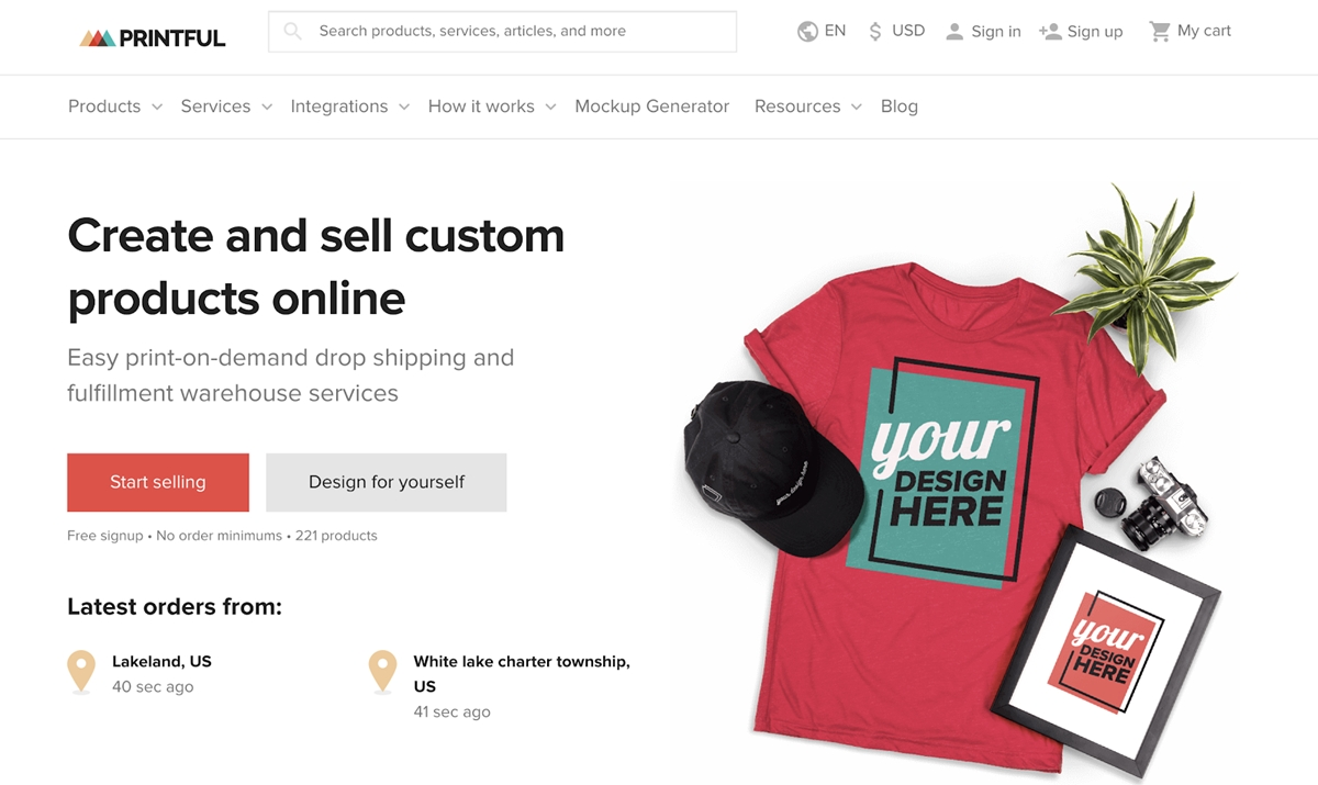 Best Shopify dropshipping apps - Printful