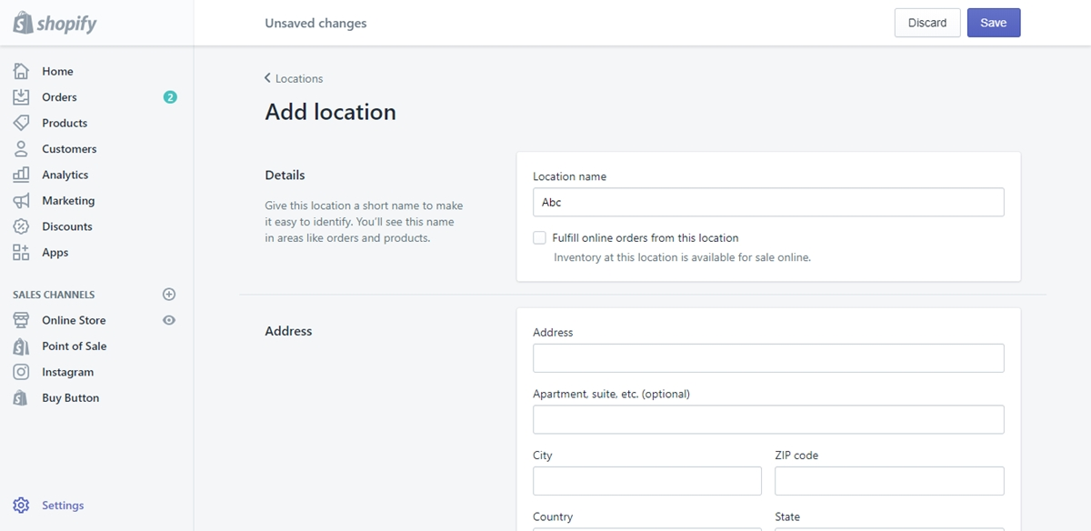 Create and modify locations on Shopify