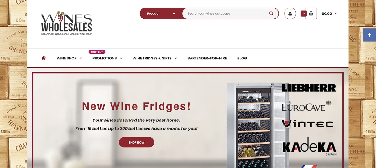 Shopify Store Examples: Wines Wholesales - Singapore wine store