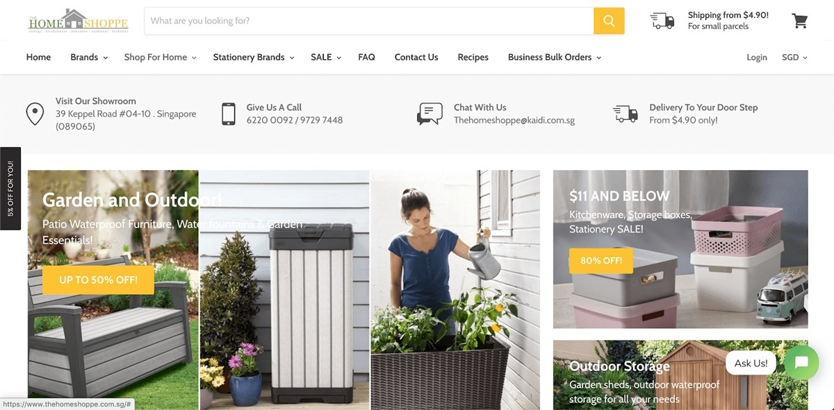 Shopify Store Examples: The Home Shoppe - Outdoor and Indoor furniture store