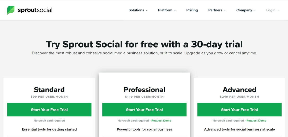 Sprout Social's pricing plans