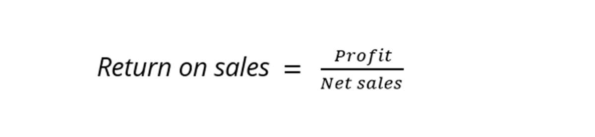 What is the formula of Return on sales?
