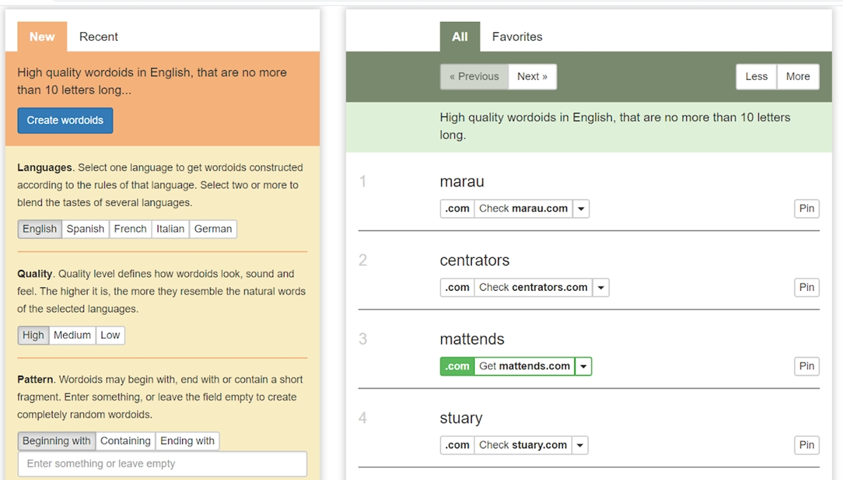 Set language and quality for the domains