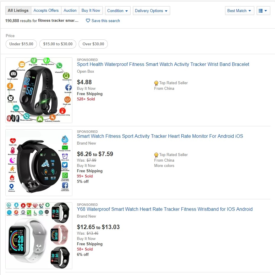 Fitness trackers on eBay