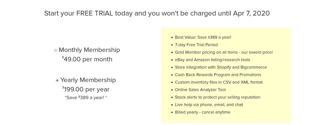 Sunrise Wholesale's membership fees