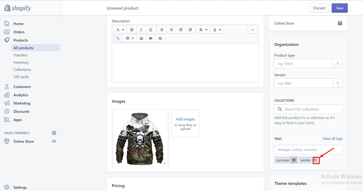 how to edit tags in shopify