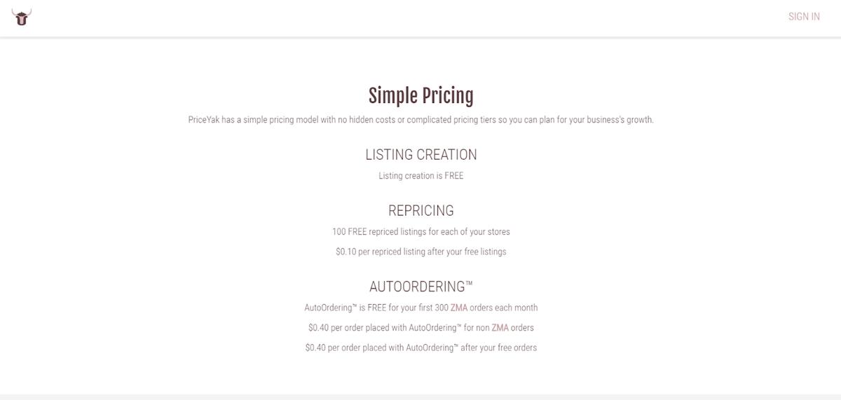PriceYak's pricing model