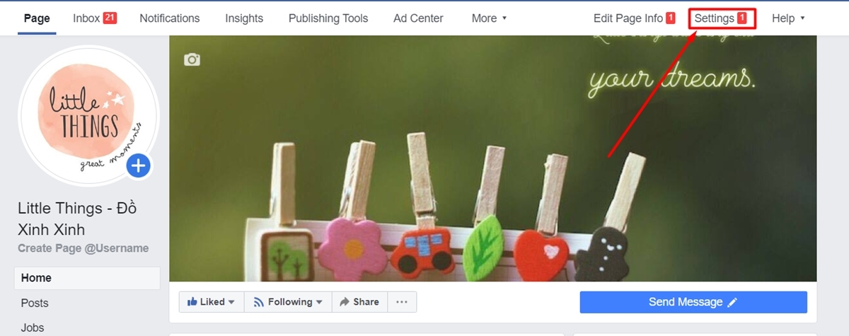Choose Settings on your Facebook Page