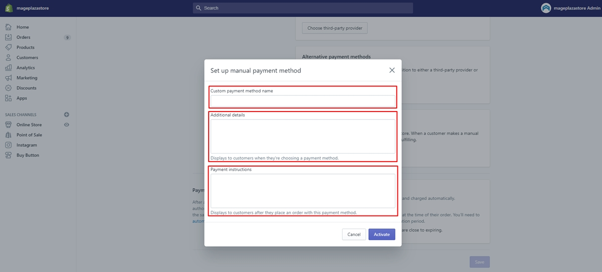 Setup Manual payments Payment gateway