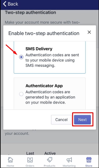 How to enable two-step authentication for a staff account on iPhone 6