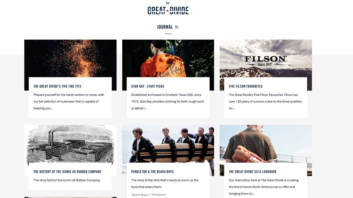 Shopify Store Examples: The Great Divide - Clothes store