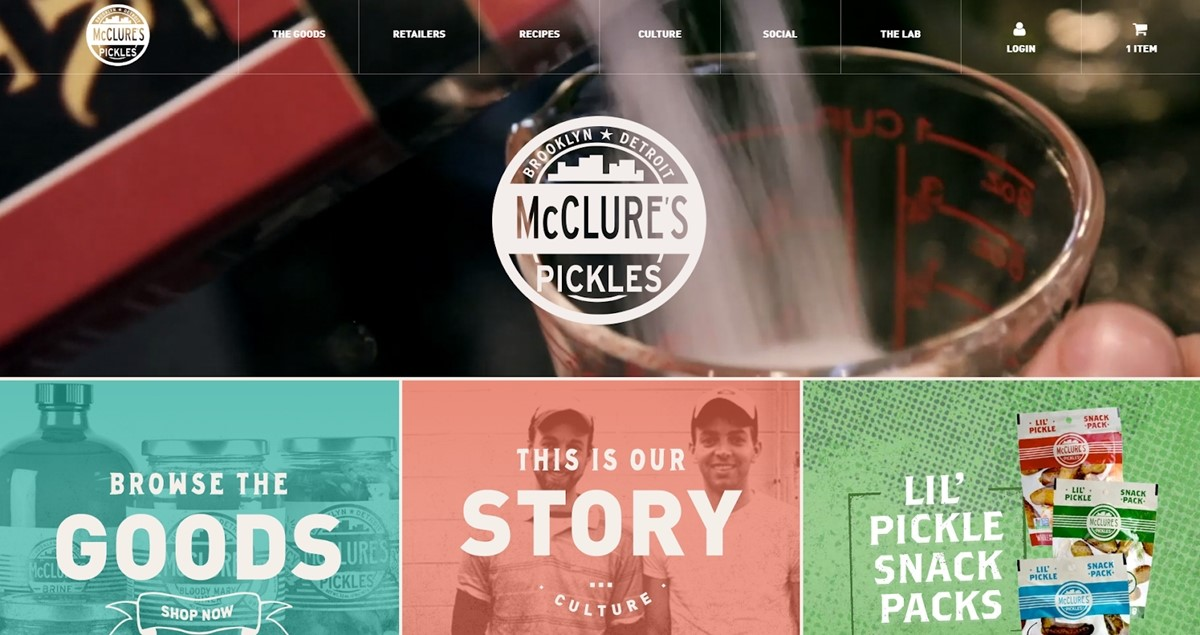 McClure's Pickles' official site, made with Shopify