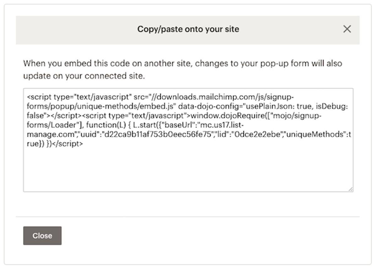 Get Mailchimp Popup Code