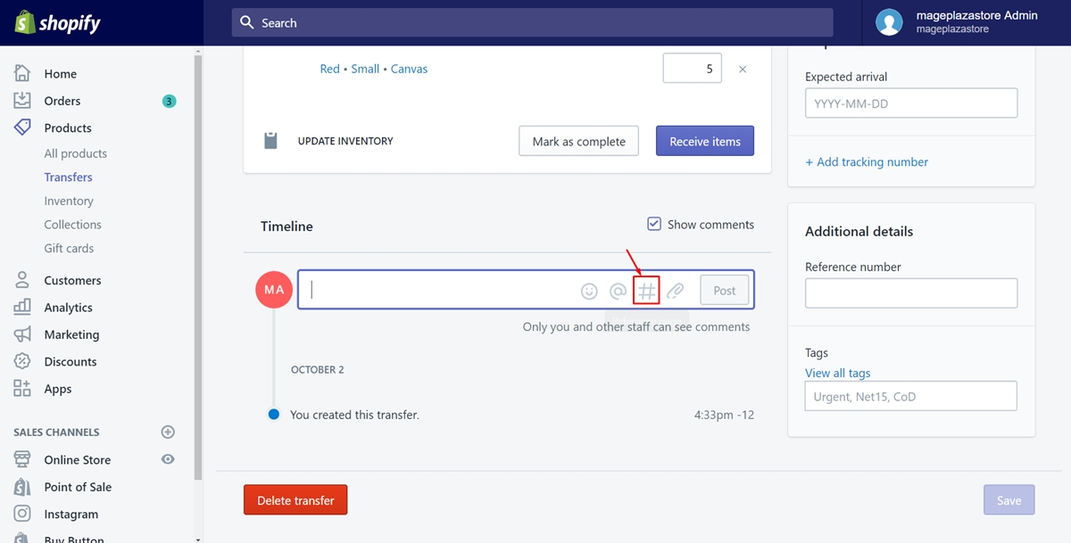 How to link and embed orders, transfers, customers, or products on Timeline