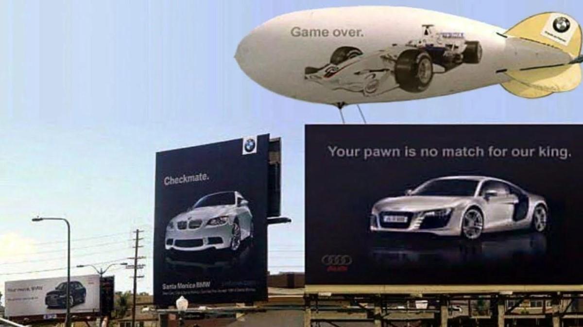 Audi and BMW billboard war - photoshopped