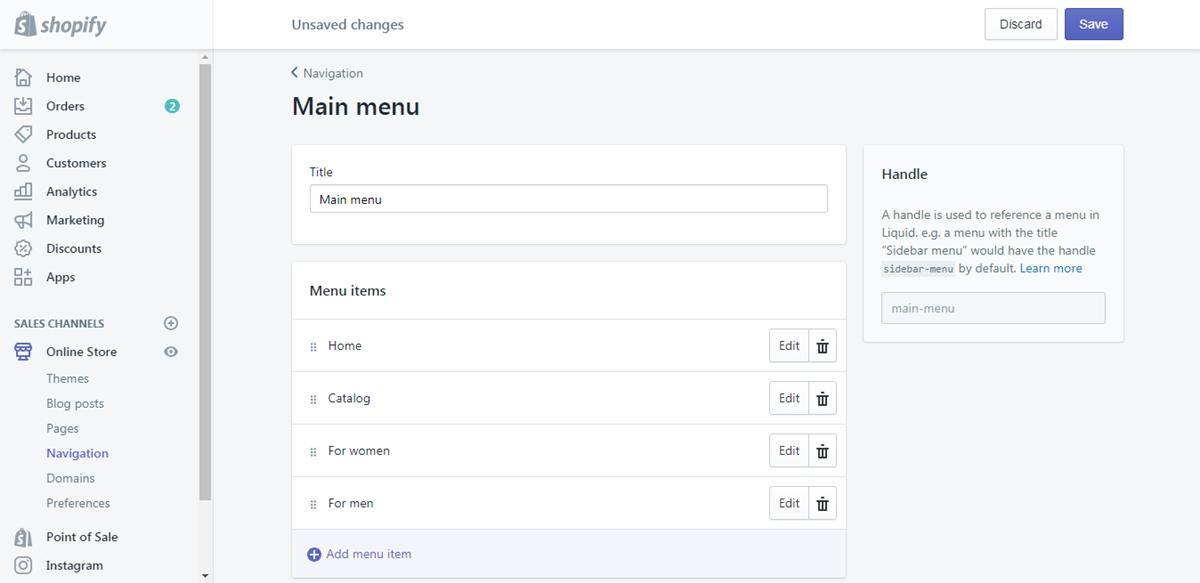 add a drop-down menu from the main menu