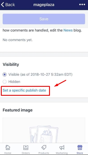 To set a specific publish date for a blog post on iPhone 5
