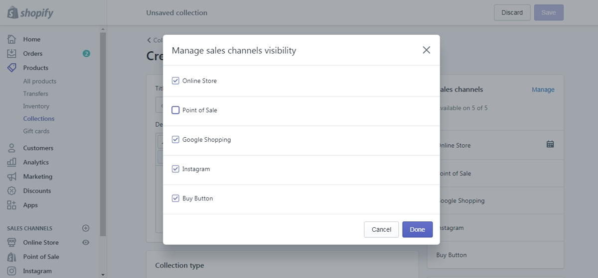 create collection products need tax override Shopify